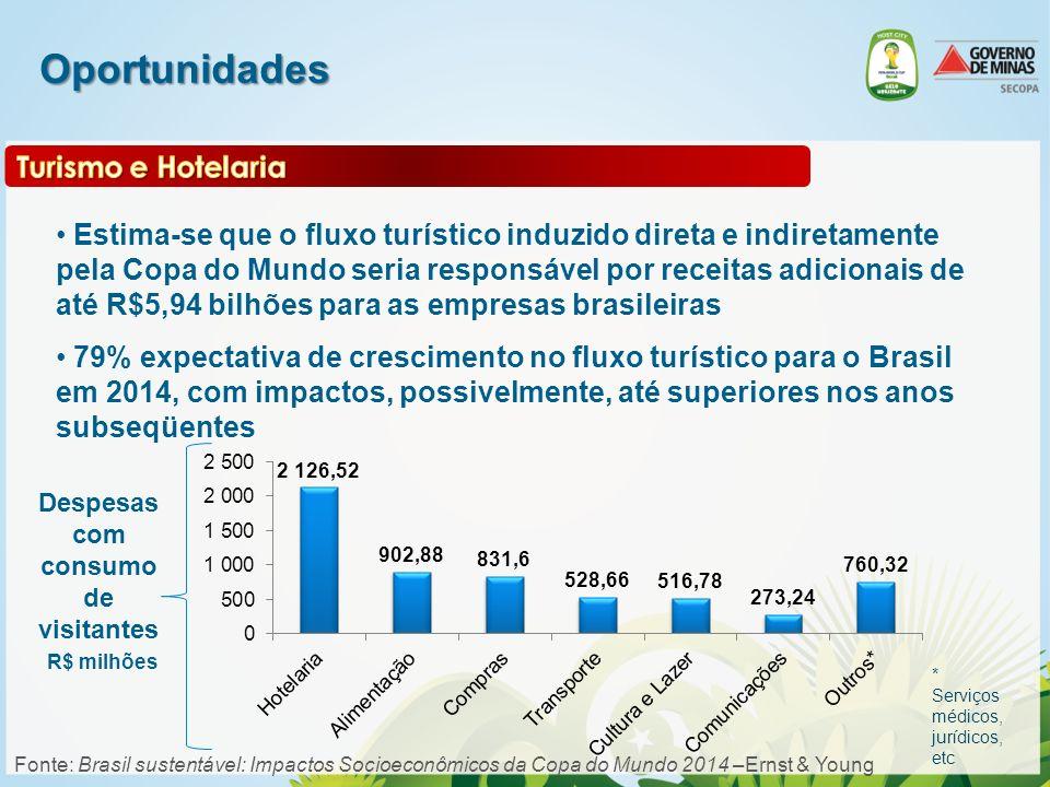 Oportunidades Estima-se que o fluxo turístico induzido direta e indiretamente pela Copa do Mundo seria responsável por receitas adicionais de até R$5,