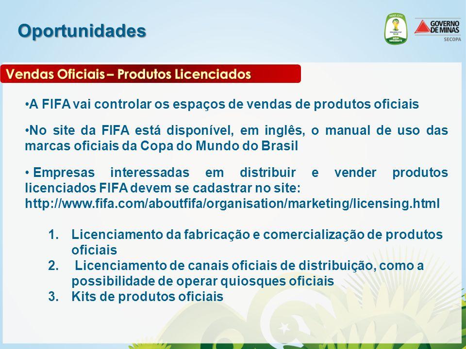 Oportunidades A FIFA vai controlar os espaços de vendas de produtos oficiais No site da FIFA está disponível, em inglês, o manual de uso das marcas of