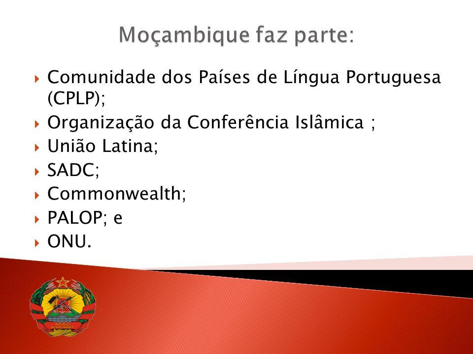 Comunidade dos Países de Língua Portuguesa (CPLP); Organização da Conferência Islâmica ; União Latina; SADC; Commonwealth; PALOP; e ONU.