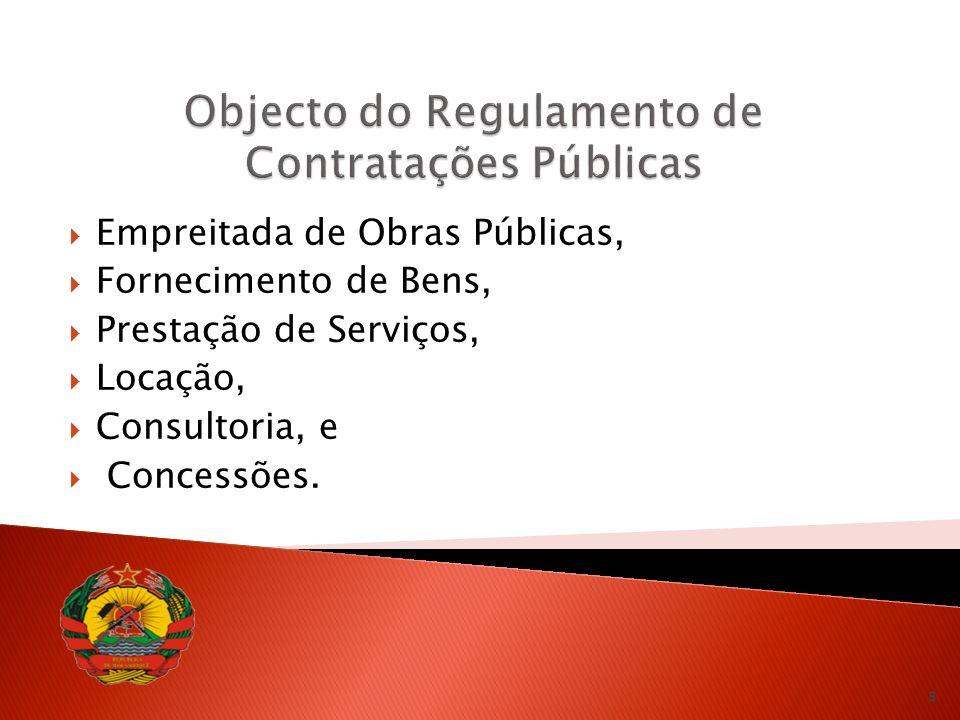 Empreitada de Obras Públicas, Fornecimento de Bens, Prestação de Serviços, Locação, Consultoria, e Concessões.