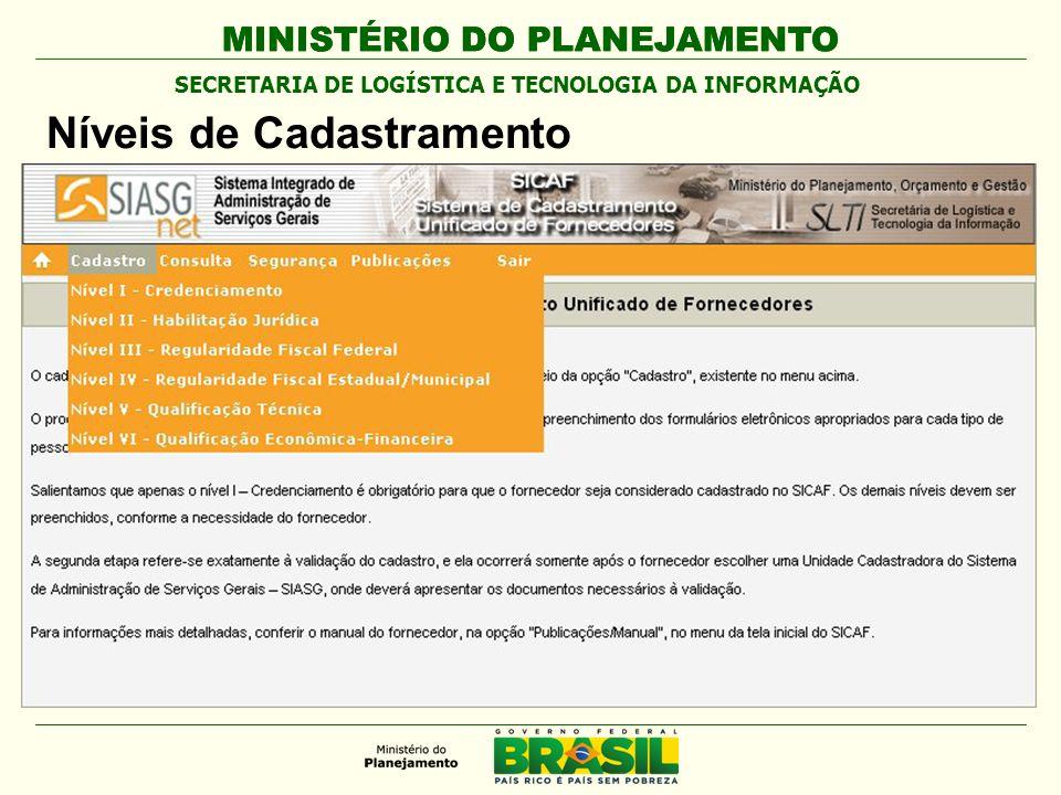 MINISTÉRIO DO PLANEJAMENTO Níveis de Cadastramento SECRETARIA DE LOGÍSTICA E TECNOLOGIA DA INFORMAÇÃO