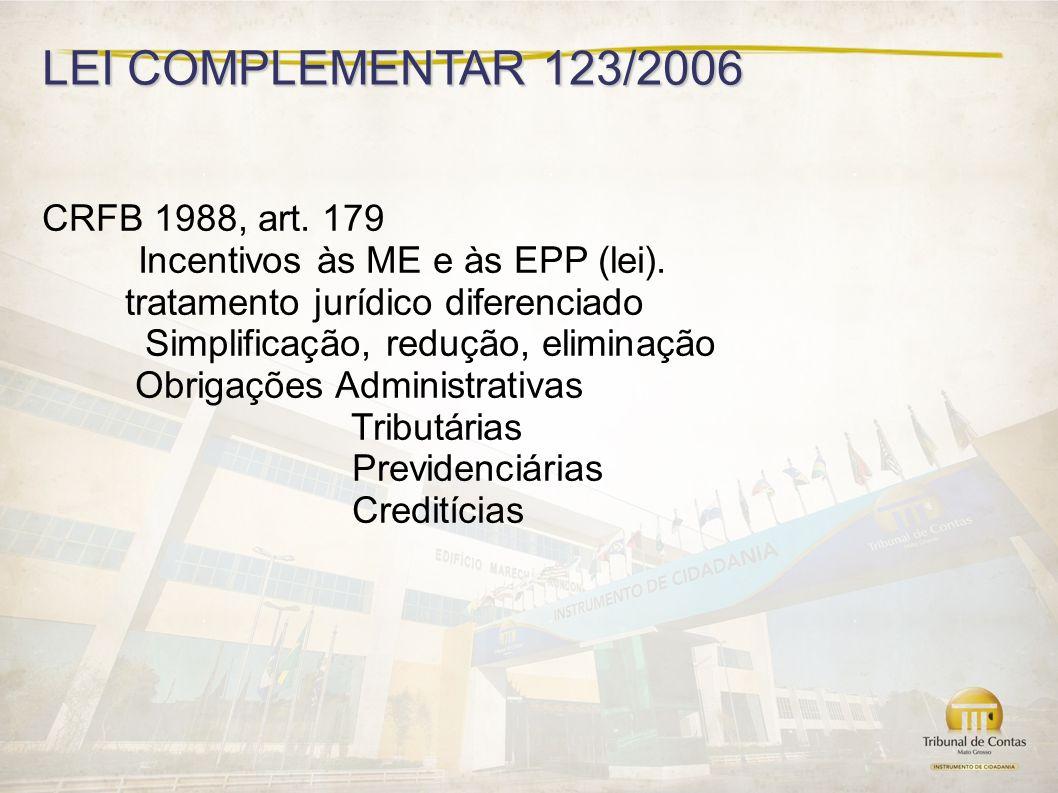 LEI COMPLEMENTAR 123/2006 CRFB 1988, art.179 Incentivos às ME e às EPP (lei).