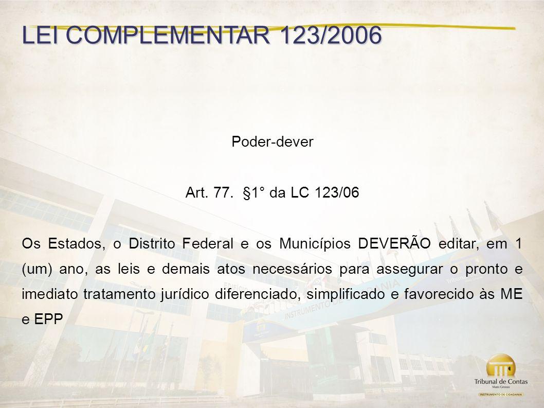 LEI COMPLEMENTAR 123/2006 Poder-dever Art.77.
