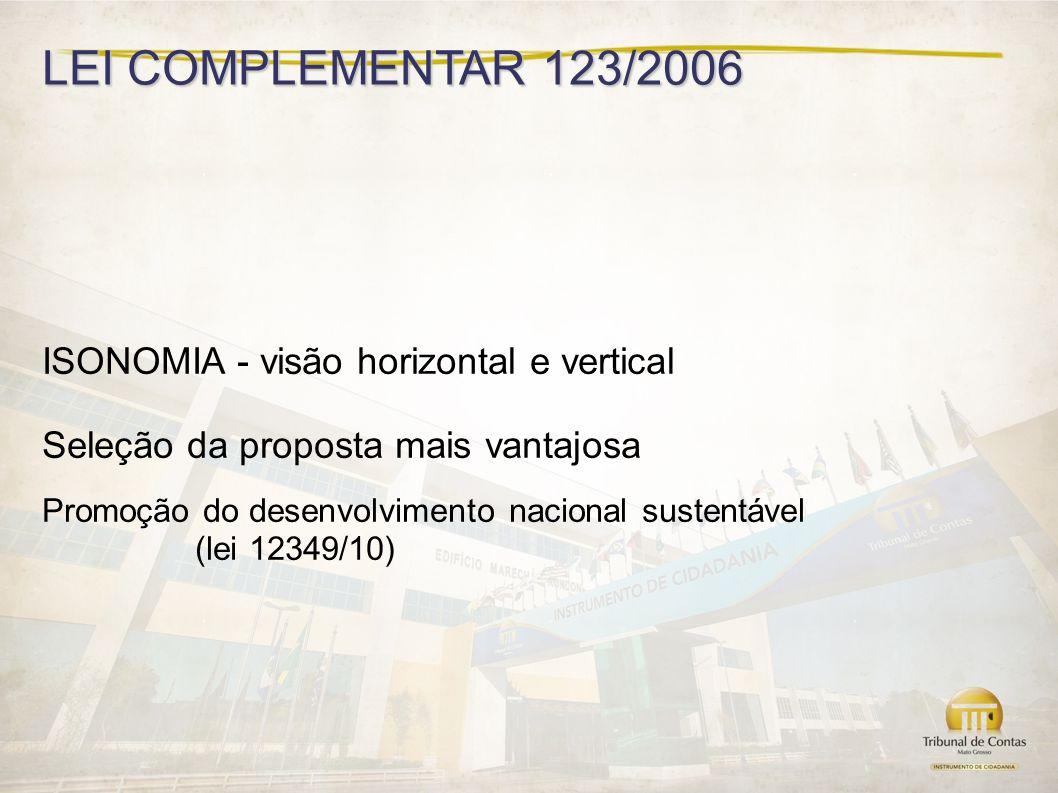 LEI COMPLEMENTAR 123/2006 ISONOMIA - visão horizontal e vertical Seleção da proposta mais vantajosa Promoção do desenvolvimento nacional sustentável (lei 12349/10)