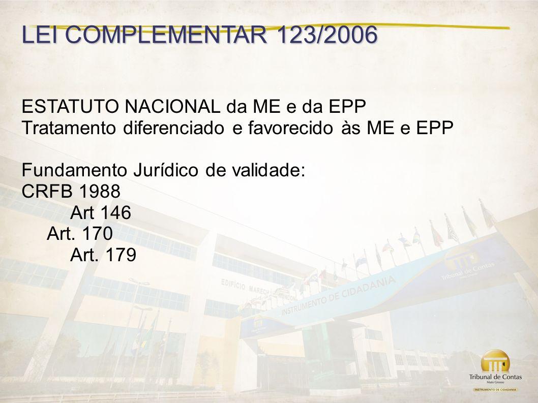 LEI COMPLEMENTAR 123/2006 ESTATUTO NACIONAL da ME e da EPP Tratamento diferenciado e favorecido às ME e EPP Fundamento Jurídico de validade: CRFB 1988 Art 146 Art.