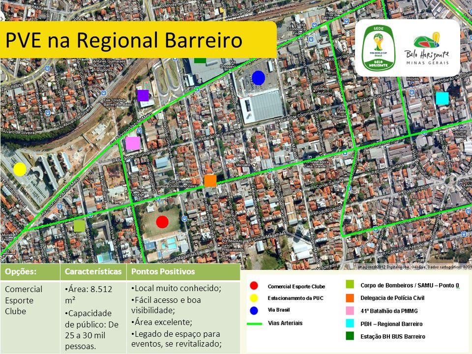 Opções:CaracterísticasPontos Positivos Comercial Esporte Clube Área: 8.512 m² Capacidade de público: De 25 a 30 mil pessoas. Local muito conhecido; Fá