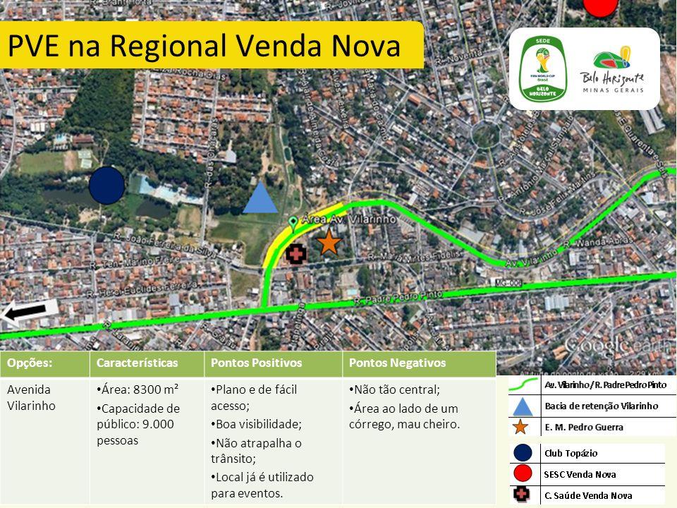 PVE na Regional Venda Nova Opções:CaracterísticasPontos PositivosPontos Negativos Avenida Vilarinho Área: 8300 m² Capacidade de público: 9.000 pessoas