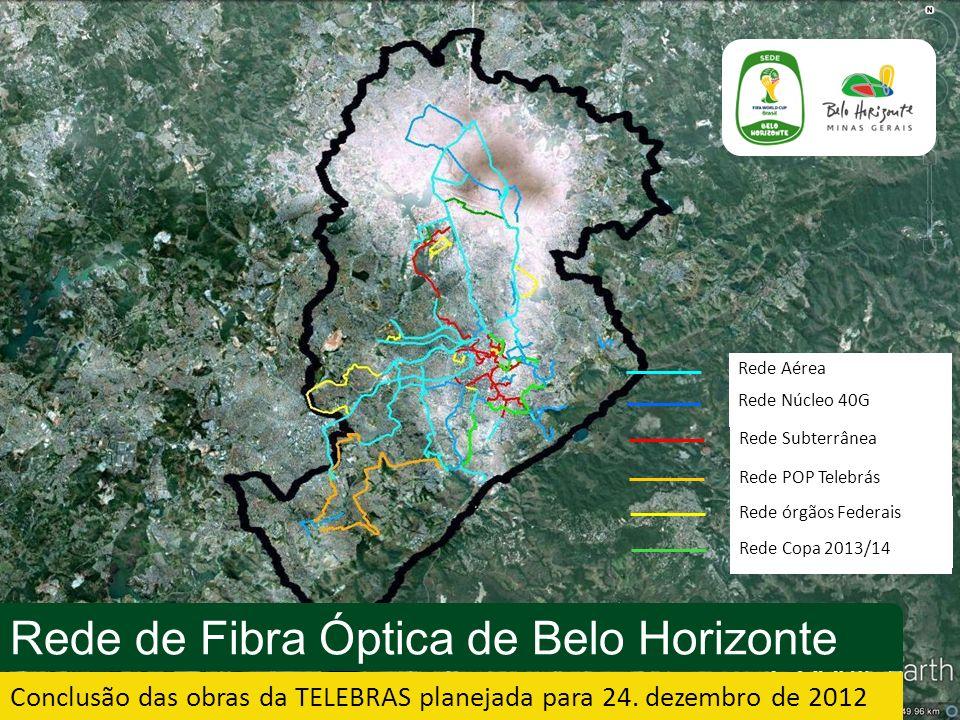 Rede Aérea Rede Núcleo 40G Rede Subterrânea Rede POP Telebrás Rede órgãos Federais Rede Copa 2013/14 Rede de Fibra Óptica de Belo Horizonte Conclusão