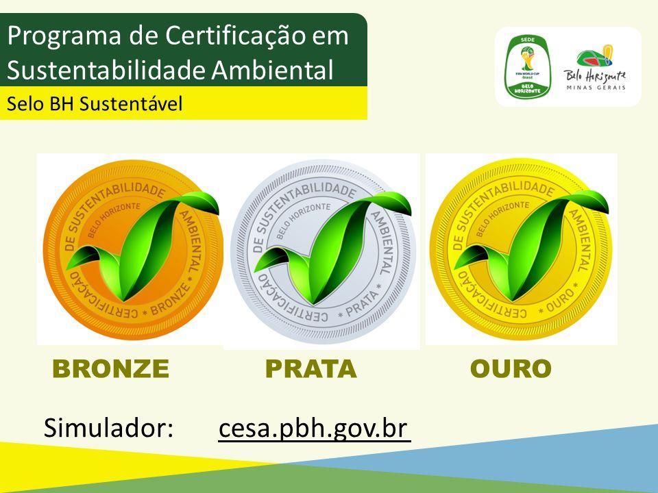 BRONZE PRATA OURO Programa de Certificação em Sustentabilidade Ambiental Selo BH Sustentável Simulador: cesa.pbh.gov.br