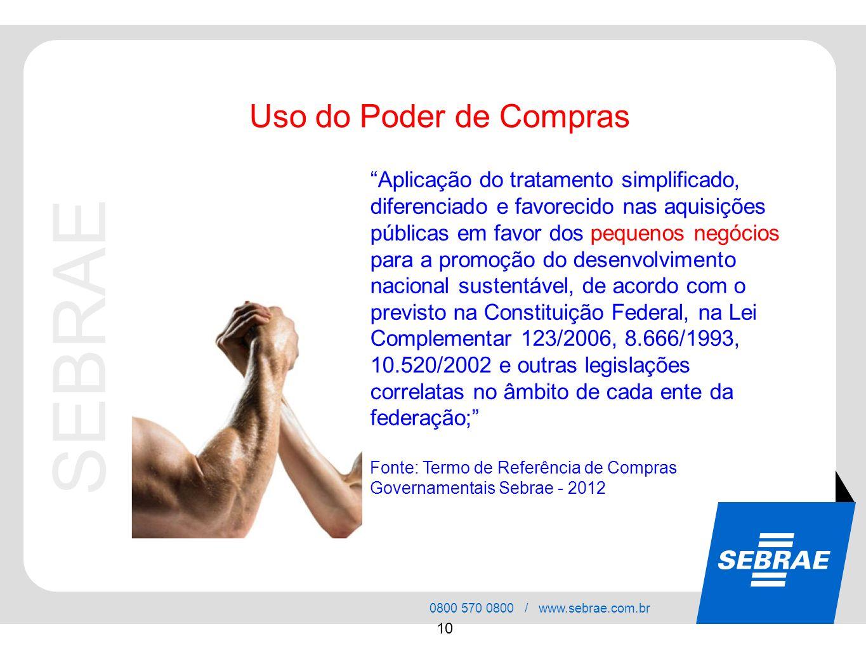 SEBRAE 0800 570 0800 / www.sebrae.com.br 10 Aplicação do tratamento simplificado, diferenciado e favorecido nas aquisições públicas em favor dos peque