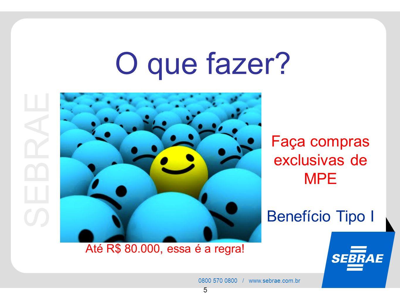 SEBRAE 0800 570 0800 / www.sebrae.com.br 5 Faça compras exclusivas de MPE Benefício Tipo I O que fazer? Até R$ 80.000, essa é a regra!