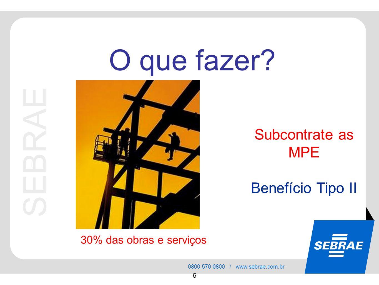 SEBRAE 0800 570 0800 / www.sebrae.com.br 6 Subcontrate as MPE Benefício Tipo II O que fazer? 30% das obras e serviços