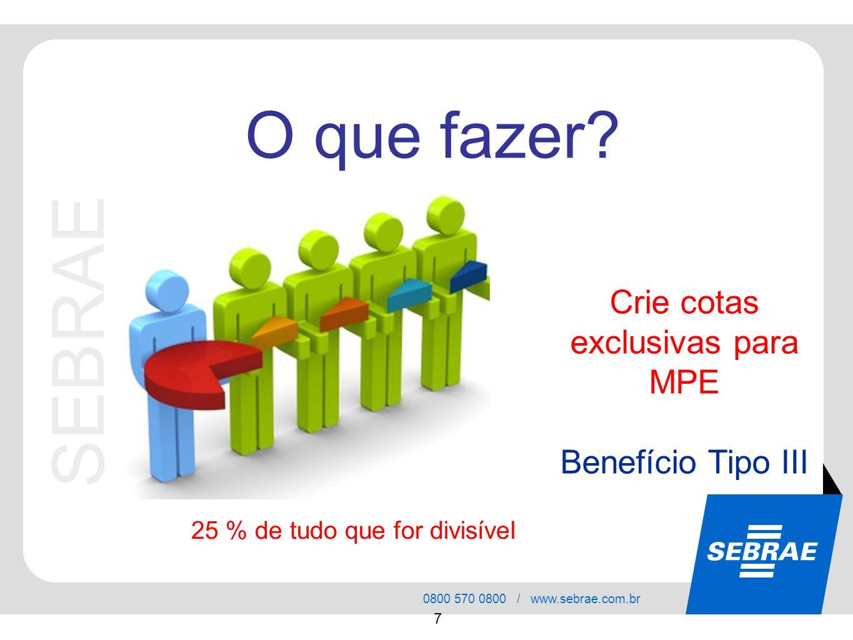 SEBRAE 0800 570 0800 / www.sebrae.com.br 7 Crie cotas exclusivas para MPE Benefício Tipo III O que fazer? 25 % de tudo que for divisível