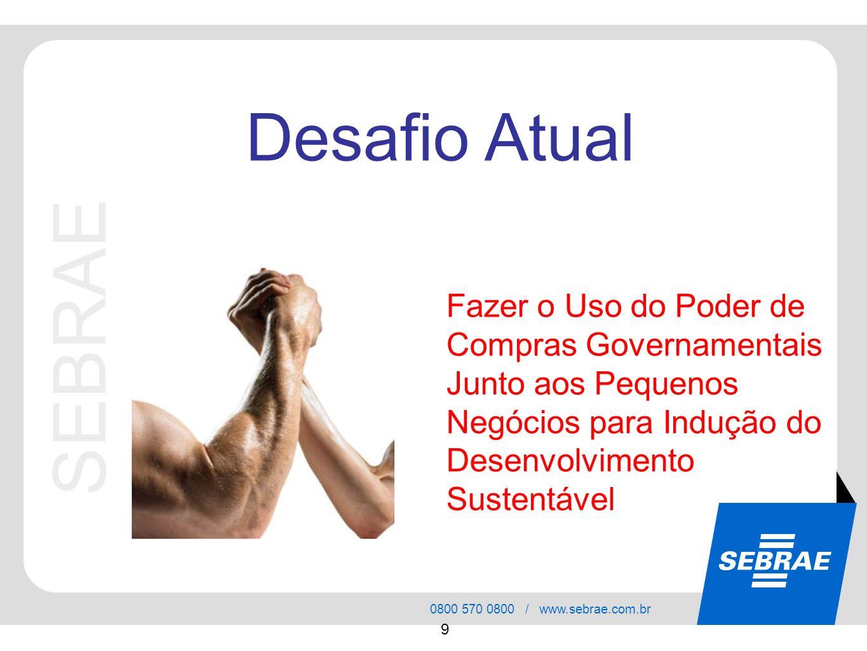 SEBRAE 0800 570 0800 / www.sebrae.com.br 9 Fazer o Uso do Poder de Compras Governamentais Junto aos Pequenos Negócios para Indução do Desenvolvimento