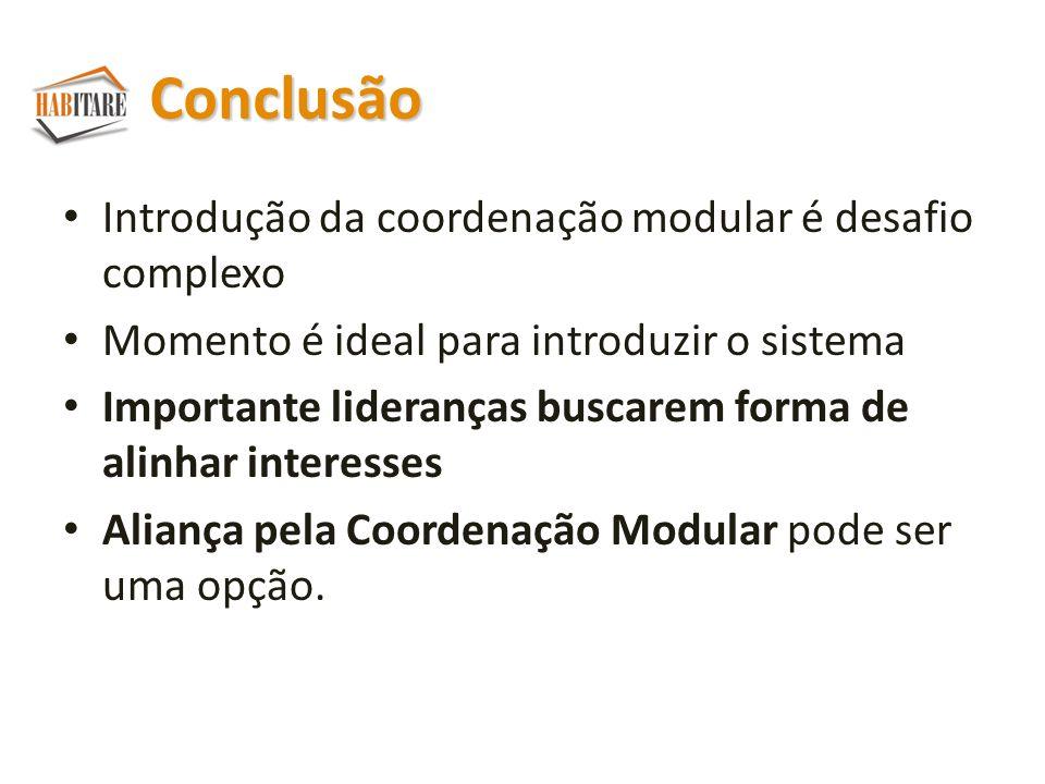 Conclusão Introdução da coordenação modular é desafio complexo Momento é ideal para introduzir o sistema Importante lideranças buscarem forma de alinhar interesses Aliança pela Coordenação Modular pode ser uma opção.