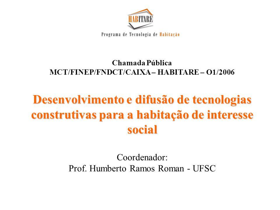 Chamada Pública MCT/FINEP/FNDCT/CAIXA – HABITARE – O1/2006 Desenvolvimento e difusão de tecnologias construtivas para a habitação de interesse social Coordenador: Prof.