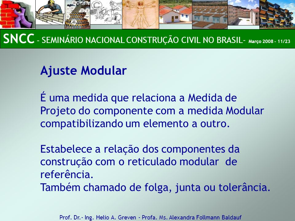 Ajuste Modular É uma medida que relaciona a Medida de Projeto do componente com a medida Modular compatibilizando um elemento a outro. Estabelece a re