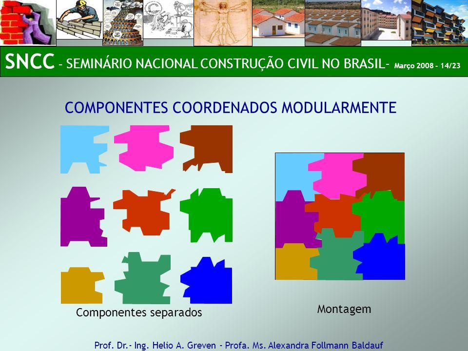 Montagem Componentes separados COMPONENTES COORDENADOS MODULARMENTE Prof. Dr.- Ing. Helio A. Greven - Profa. Ms. Alexandra Follmann Baldauf SNCC – SEM