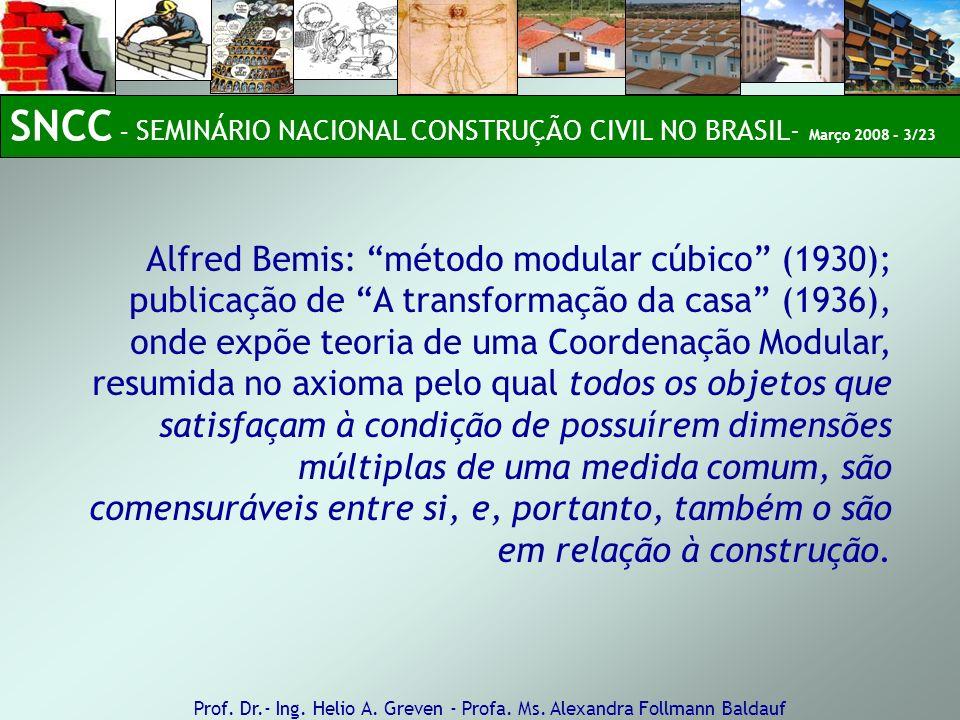 Alfred Bemis: método modular cúbico (1930); publicação de A transformação da casa (1936), onde expõe teoria de uma Coordenação Modular, resumida no ax