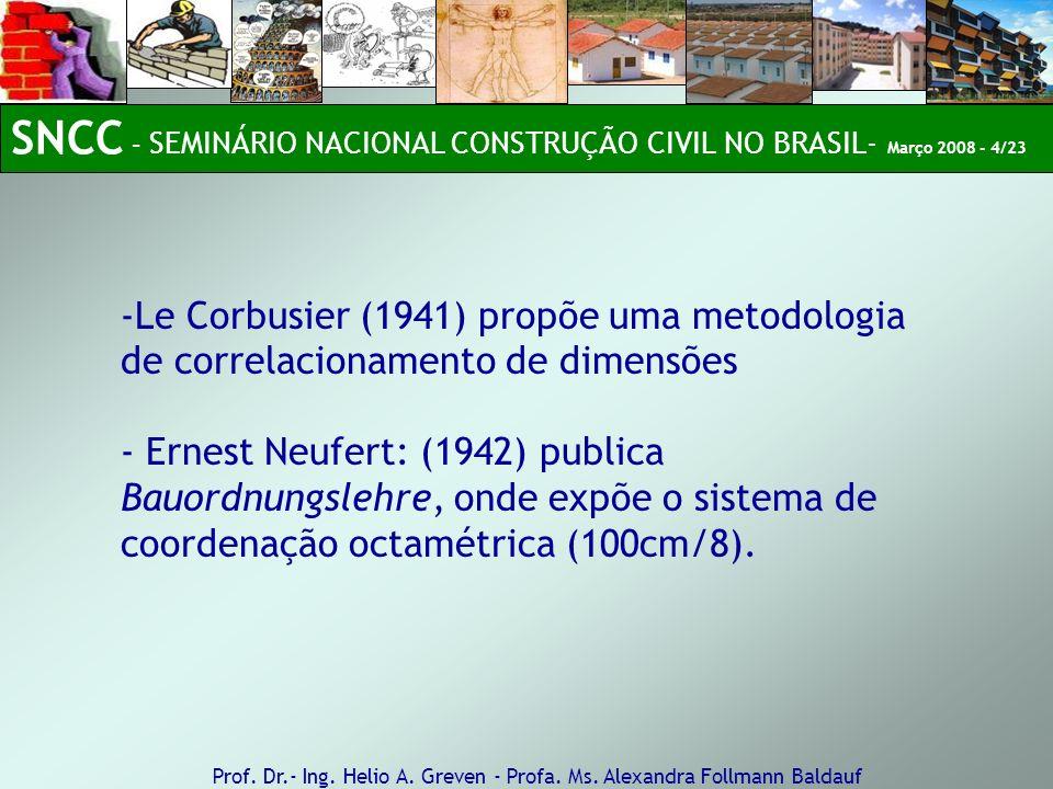 -Le Corbusier (1941) propõe uma metodologia de correlacionamento de dimensões - Ernest Neufert: (1942) publica Bauordnungslehre, onde expõe o sistema de coordenação octamétrica (100cm/8).