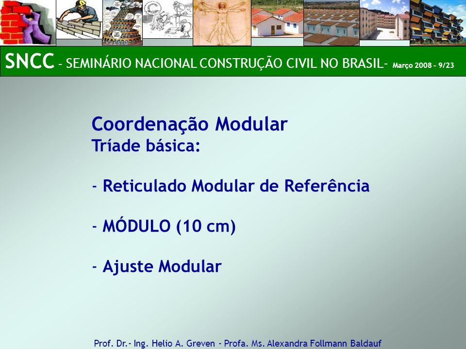 Coordenação Modular Tríade básica: - Reticulado Modular de Referência - MÓDULO (10 cm) - Ajuste Modular Prof. Dr.- Ing. Helio A. Greven - Profa. Ms. A