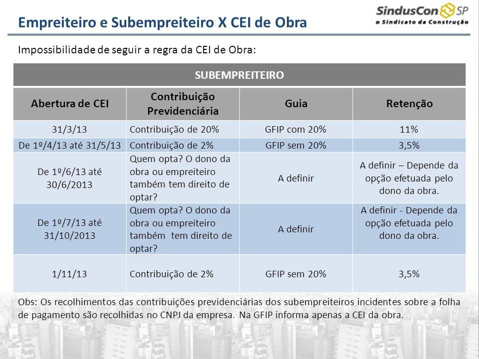 SUBEMPREITEIRO Abertura de CEI Contribuição Previdenciária GuiaRetenção 31/3/13Contribuição de 20%GFIP com 20%11% De 1º/4/13 até 31/5/13Contribuição d