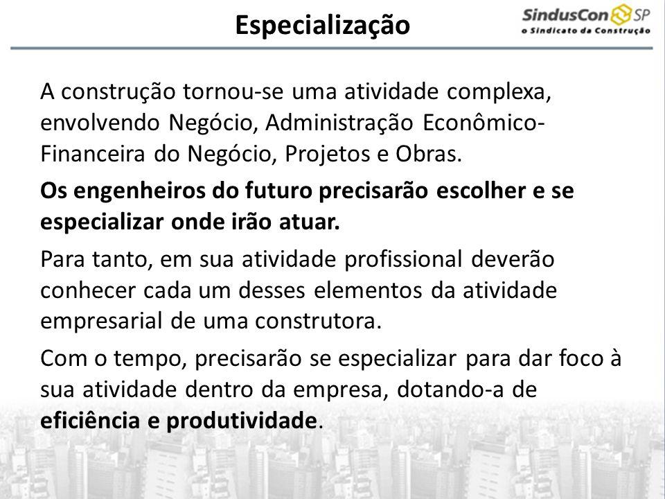 Especialização A construção tornou-se uma atividade complexa, envolvendo Negócio, Administração Econômico- Financeira do Negócio, Projetos e Obras. Os