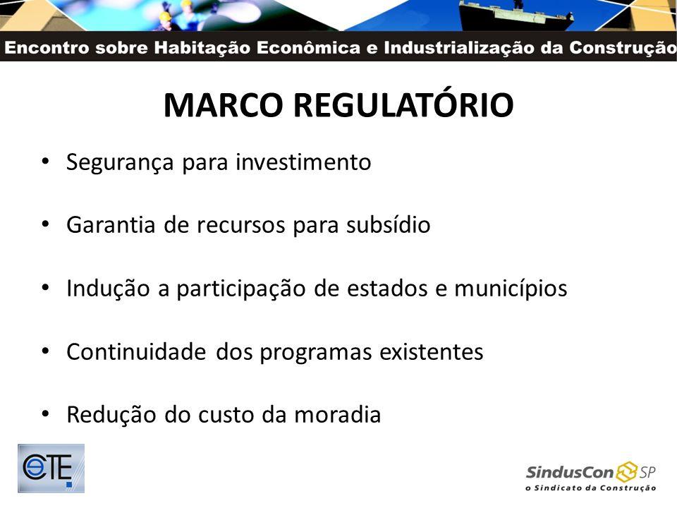 MARCO REGULATÓRIO Segurança para investimento Garantia de recursos para subsídio Indução a participação de estados e municípios Continuidade dos progr