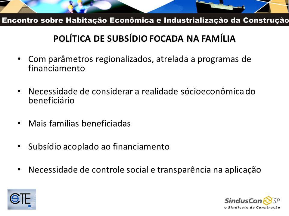 POLÍTICA DE SUBSÍDIO FOCADA NA FAMÍLIA Com parâmetros regionalizados, atrelada a programas de financiamento Necessidade de considerar a realidade sóci