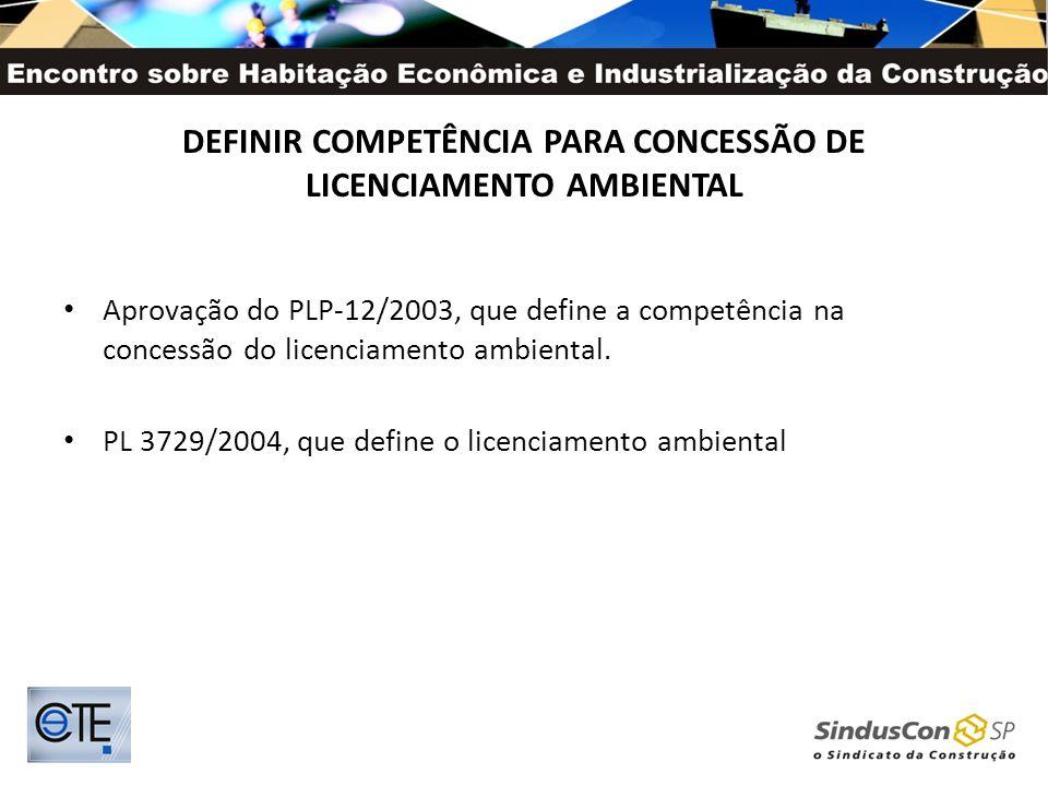 DEFINIR COMPETÊNCIA PARA CONCESSÃO DE LICENCIAMENTO AMBIENTAL Aprovação do PLP-12/2003, que define a competência na concessão do licenciamento ambient