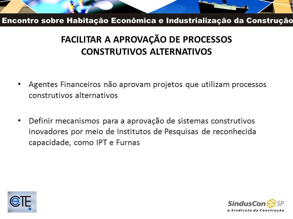 FACILITAR A APROVAÇÃO DE PROCESSOS CONSTRUTIVOS ALTERNATIVOS Agentes Financeiros não aprovam projetos que utilizam processos construtivos alternativos