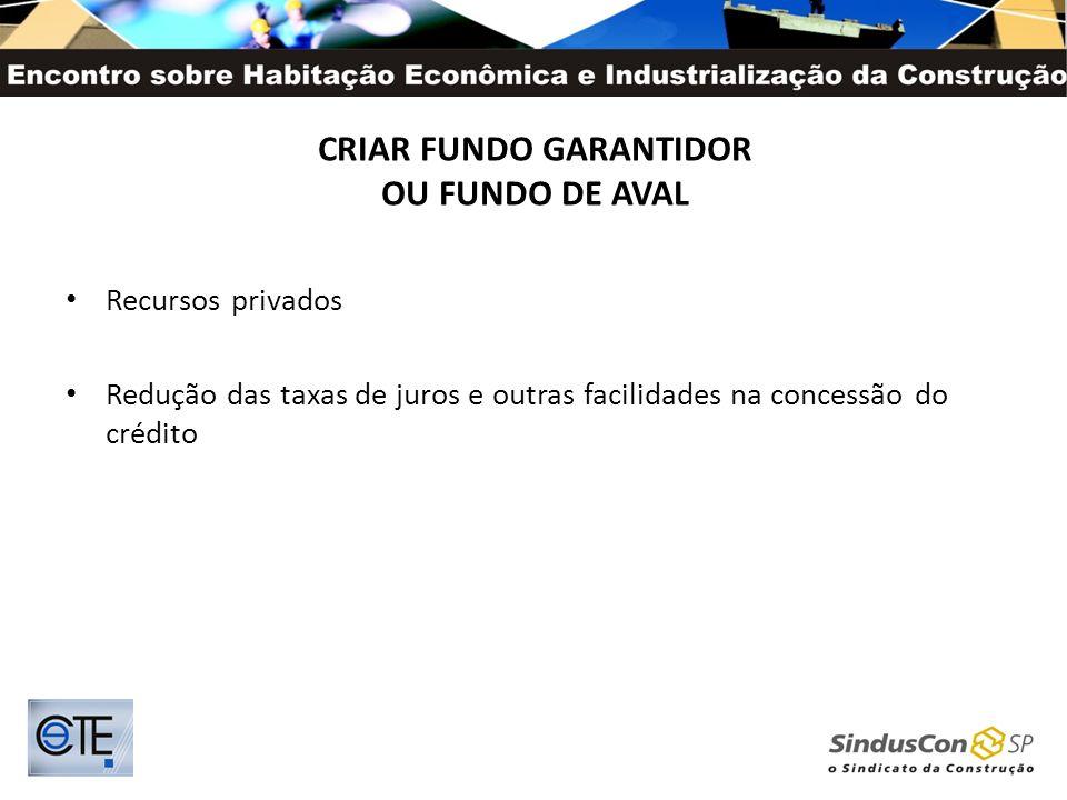 CRIAR FUNDO GARANTIDOR OU FUNDO DE AVAL Recursos privados Redução das taxas de juros e outras facilidades na concessão do crédito