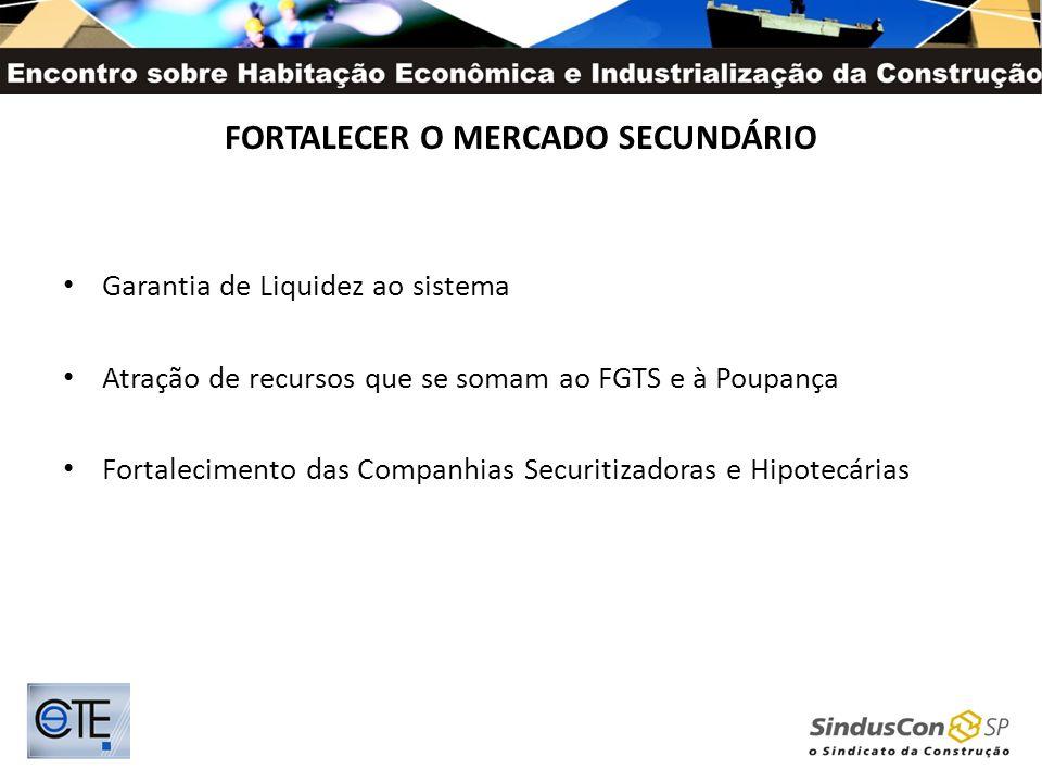 FORTALECER O MERCADO SECUNDÁRIO Garantia de Liquidez ao sistema Atração de recursos que se somam ao FGTS e à Poupança Fortalecimento das Companhias Se