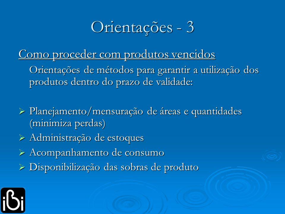 Orientações - 3 Como proceder com produtos vencidos Orientações de métodos para garantir a utilização dos produtos dentro do prazo de validade: Planej