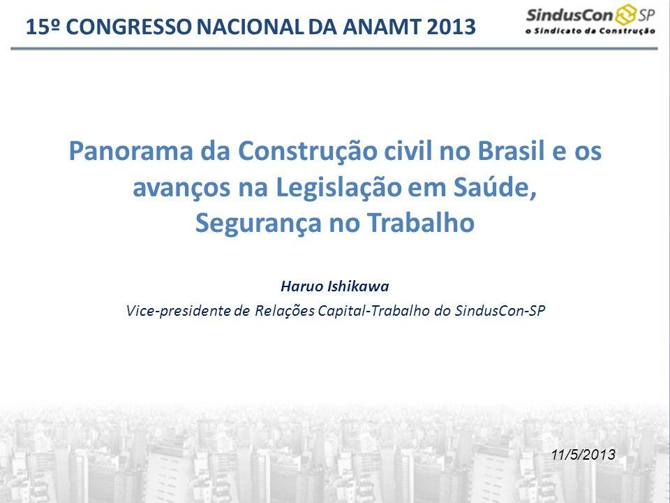 Panorama da Construção civil no Brasil e os avanços na Legislação em Saúde, Segurança no Trabalho Haruo Ishikawa Vice-presidente de Relações Capital-T
