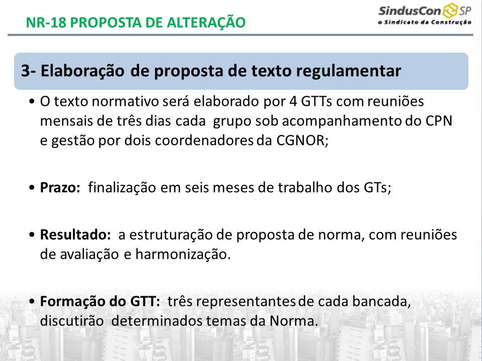 3- Elaboração de proposta de texto regulamentar O texto normativo será elaborado por 4 GTTs com reuniões mensais de três dias cada grupo sob acompanha