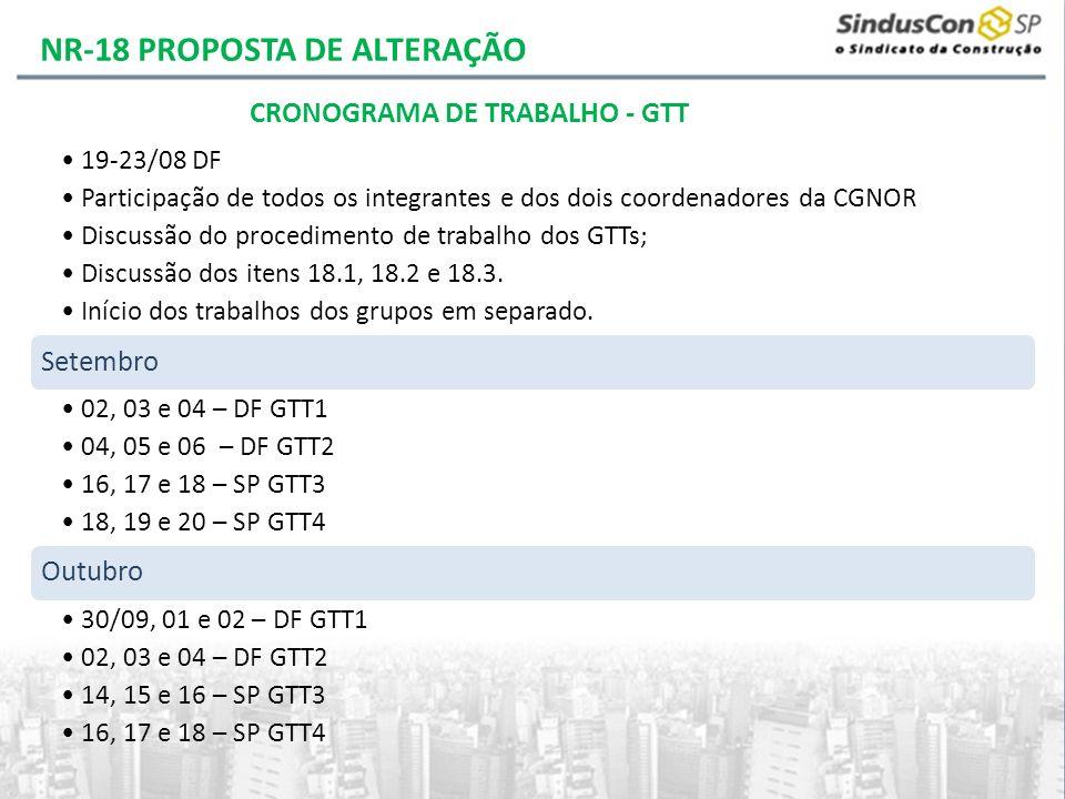 19-23/08 DF Participação de todos os integrantes e dos dois coordenadores da CGNOR Discussão do procedimento de trabalho dos GTTs; Discussão dos itens