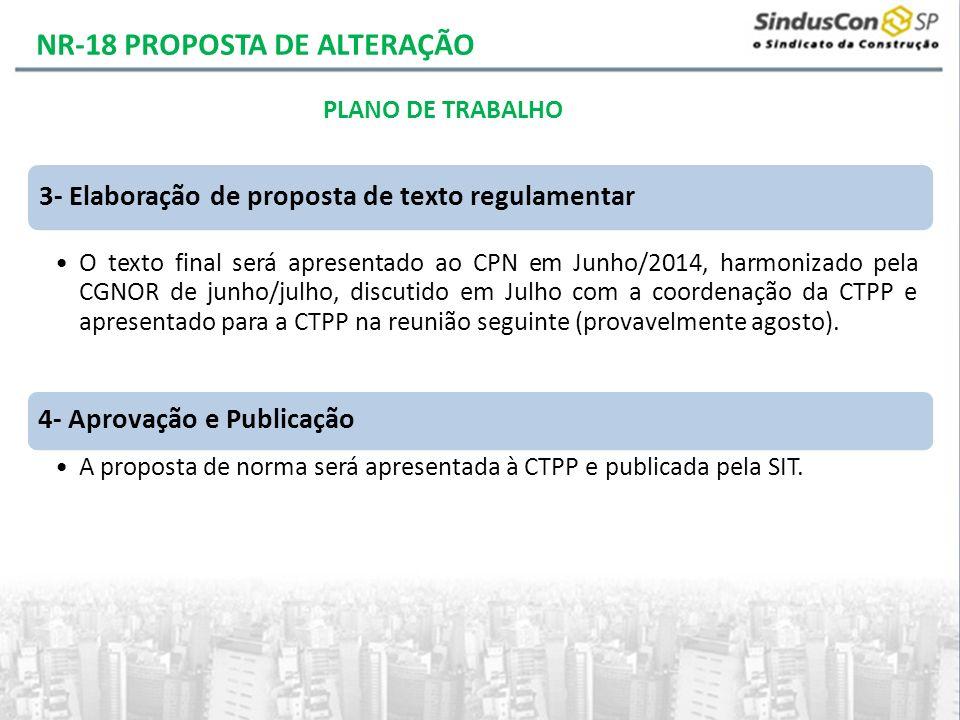 3- Elaboração de proposta de texto regulamentar O texto final será apresentado ao CPN em Junho/2014, harmonizado pela CGNOR de junho/julho, discutido