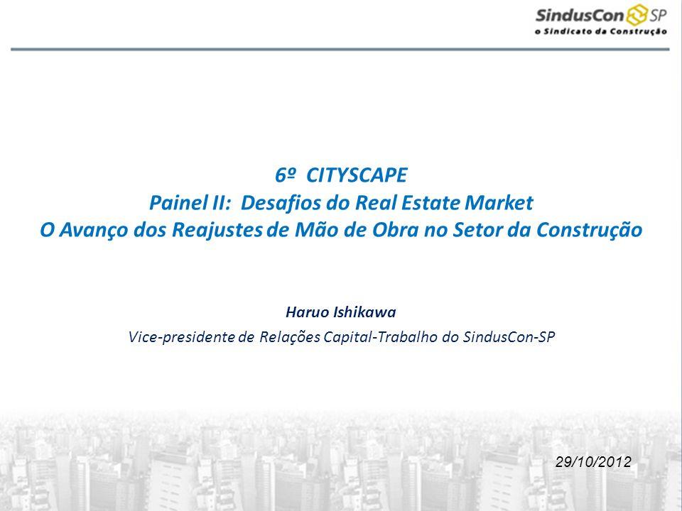 6º CITYSCAPE Painel II: Desafios do Real Estate Market O Avanço dos Reajustes de Mão de Obra no Setor da Construção Haruo Ishikawa Vice-presidente de Relações Capital-Trabalho do SindusCon-SP 29/10/2012