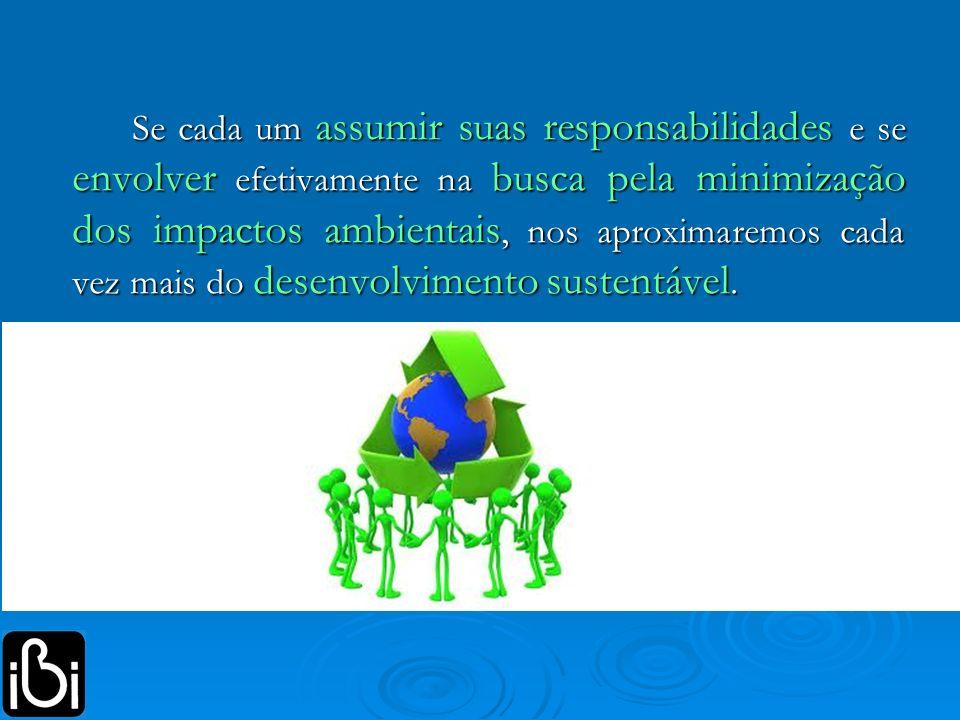 Se cada um assumir suas responsabilidades e se envolver efetivamente na busca pela minimização dos impactos ambientais, nos aproximaremos cada vez mai