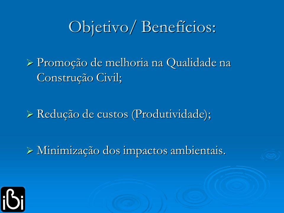Objetivo/ Benefícios: Promoção de melhoria na Qualidade na Construção Civil; Promoção de melhoria na Qualidade na Construção Civil; Redução de custos