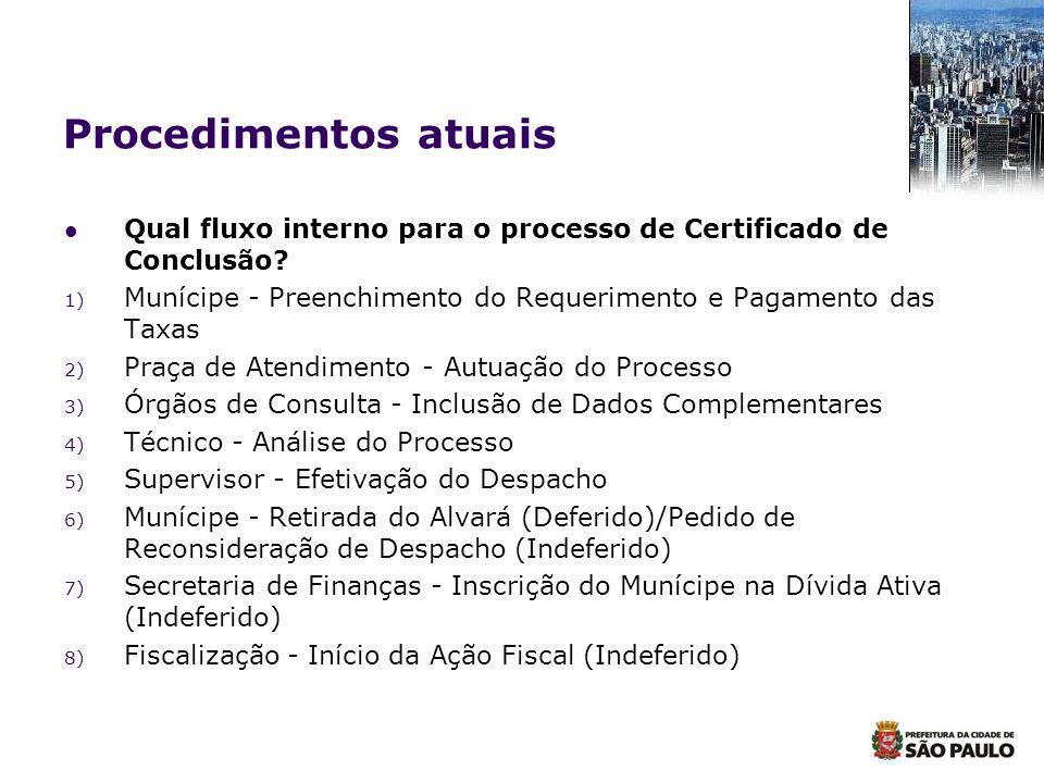 Procedimentos atuais Qual fluxo interno para o processo de Certificado de Conclusão? 1) Munícipe - Preenchimento do Requerimento e Pagamento das Taxas