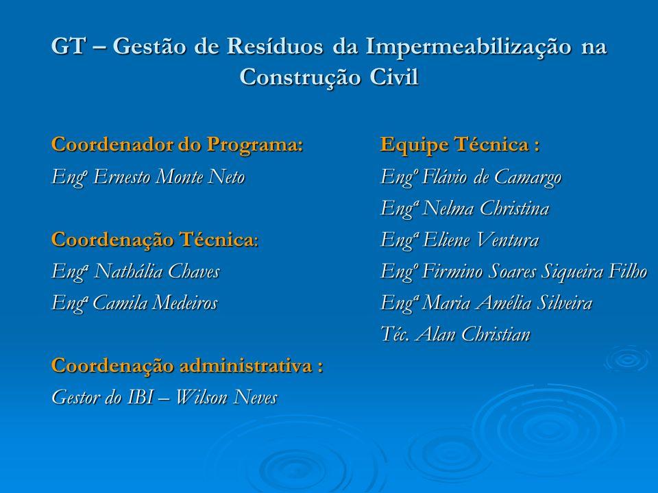 GT – Gestão de Resíduos da Impermeabilização na Construção Civil Coordenador do Programa: Eng o Ernesto Monte Neto Coordenação Técnica: Eng a Nathália
