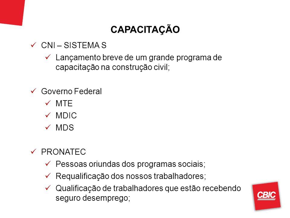 CAPACITAÇÃO CNI – SISTEMA S Lançamento breve de um grande programa de capacitação na construção civil; Governo Federal MTE MDIC MDS PRONATEC Pessoas o