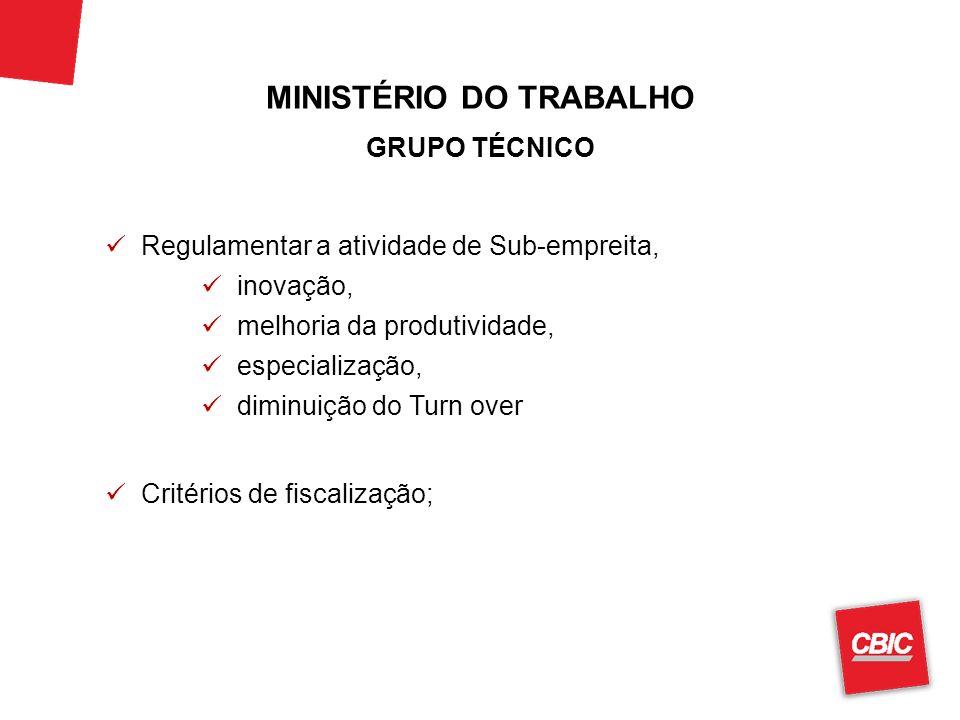 MINISTÉRIO DO TRABALHO GRUPO TÉCNICO Regulamentar a atividade de Sub-empreita, inovação, melhoria da produtividade, especialização, diminuição do Turn