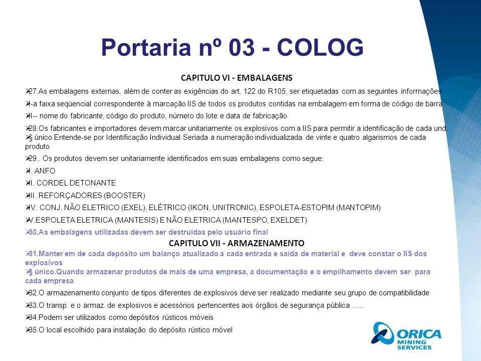 CAPITULO VIII - FISCALIZAÇÃO E SEGURANÇA 36.as empresas com CR ou TR, para desenvolver atividades utilizando explosivos, devem manter atualizados....