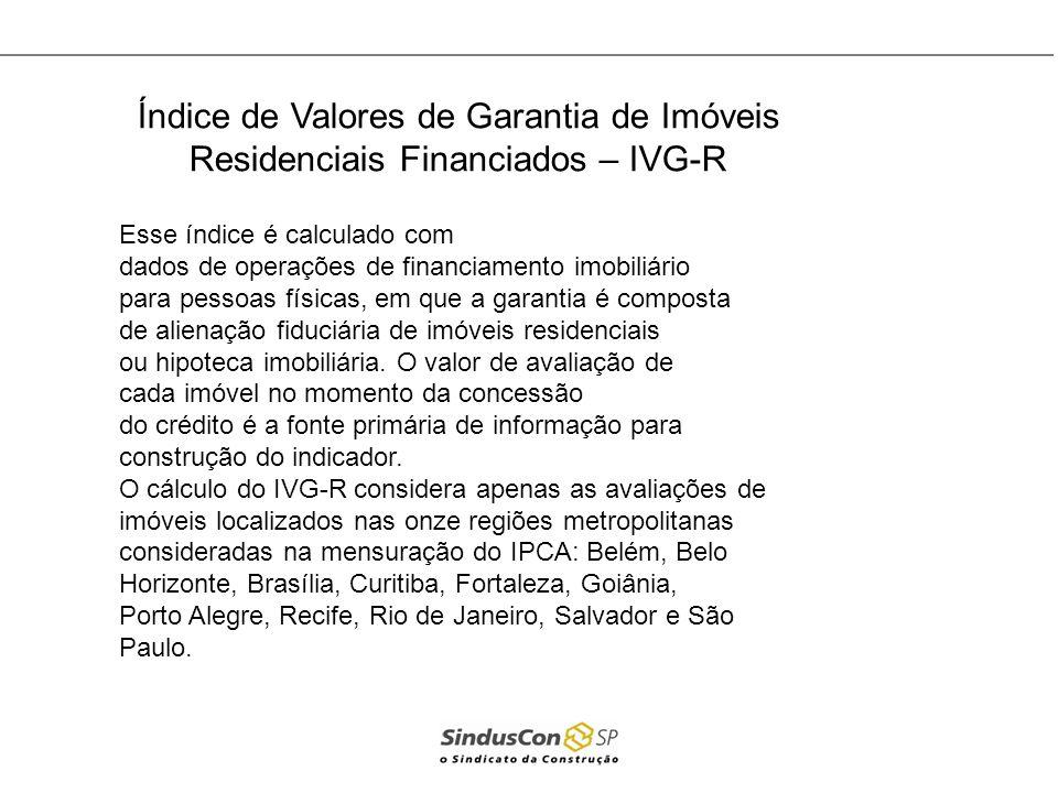Índice de Valores de Garantia de Imóveis Residenciais Financiados – IVG-R Esse índice é calculado com dados de operações de financiamento imobiliário