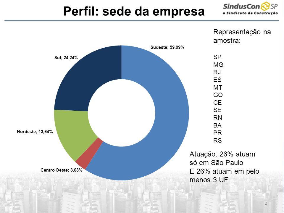 A Perfil: sede da empresa 2 Atuação: 26% atuam só em São Paulo E 26% atuam em pelo menos 3 UF Representação na amostra: SP MG RJ ES MT GO CE SE RN BA