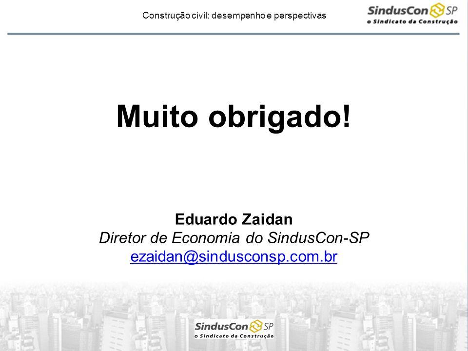 Construção civil: desempenho e perspectivas Muito obrigado! Eduardo Zaidan Diretor de Economia do SindusCon-SP ezaidan@sindusconsp.com.br