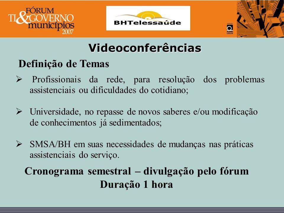 BHTelessaúde Videoconferências Profissionais da rede, para resolução dos problemas assistenciais ou dificuldades do cotidiano; Universidade, no repass